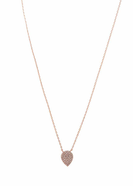 Reverse Small Tear drop short necklace with hand set micro pave high quality CZ, Rose Gold finish