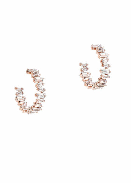 Hestia (Pronounced: eh s thee aa, Greek goddess of Fire) Inside and out hoop with hand set high quality CZ, Rose Gold finish, Small
