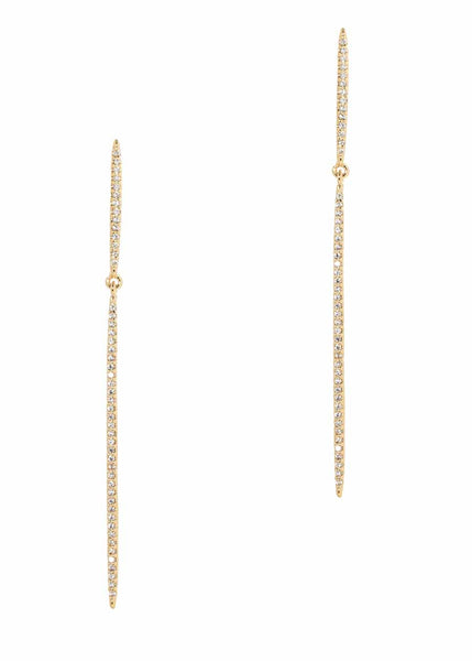 Delicate bar on bar drop earrings with micro pave hand set high quality CZ, Gold finish.