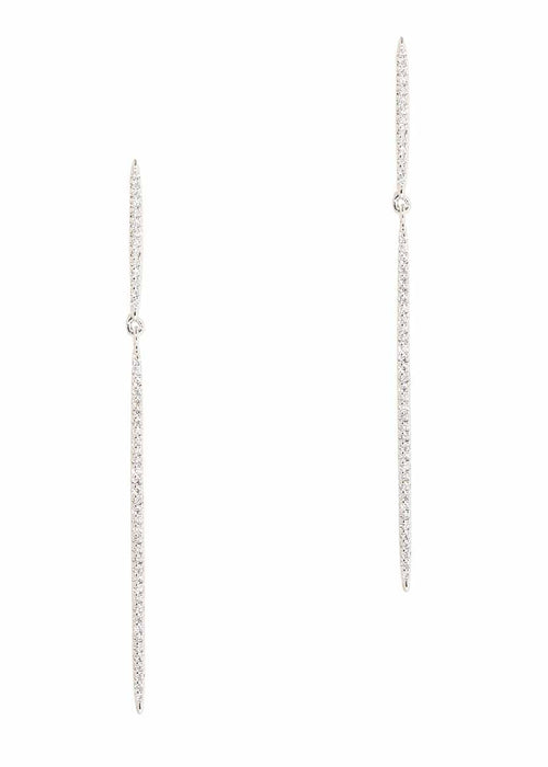 Delicate bar on bar drop earrings with micro pave hand set high quality CZ, White Gold finish.