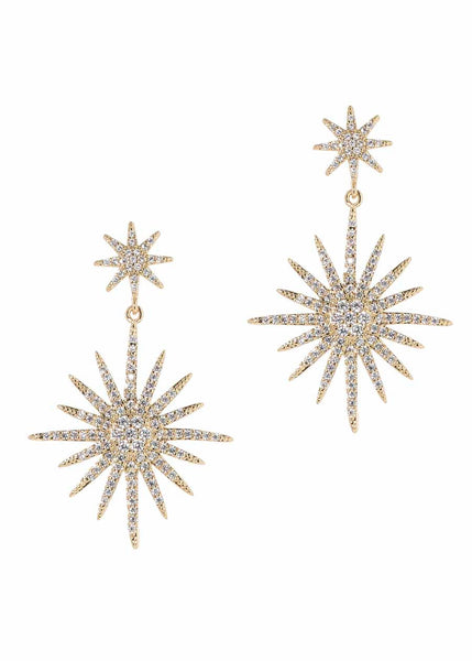 Theia (Goddess of light) double tier drop earrings with micro pave hand set high quality CZ, Gold finish