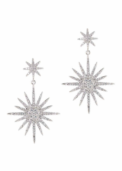 Theia (Goddess of light) double tier drop earrings with micro pave hand set high quality CZ, White Gold finish
