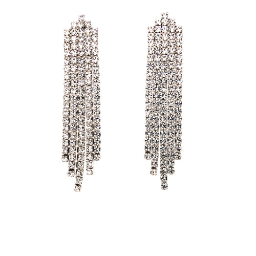 Five line vertical clear CZ waterfall drop earrings, White Gold finish