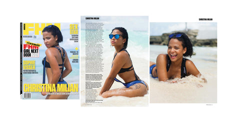 Asherah Swimwear in FHM Magazine featured on singer/actress Christina Milian