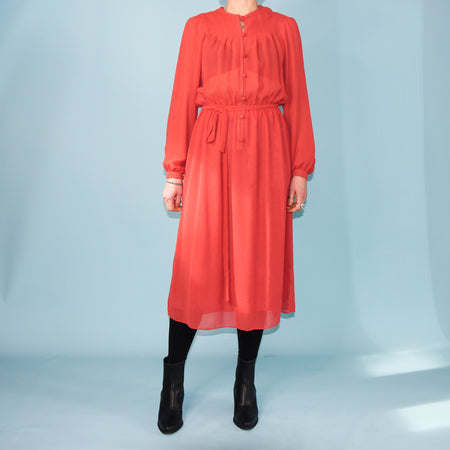 Vintage Terracotta Dress - Size 10