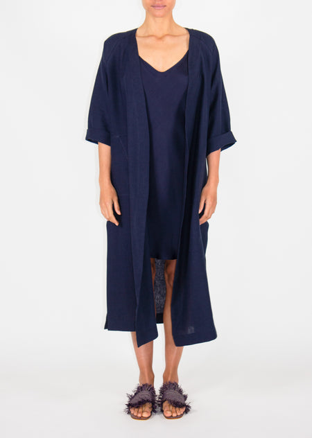 Long Happy Coat - Navy - Size 10