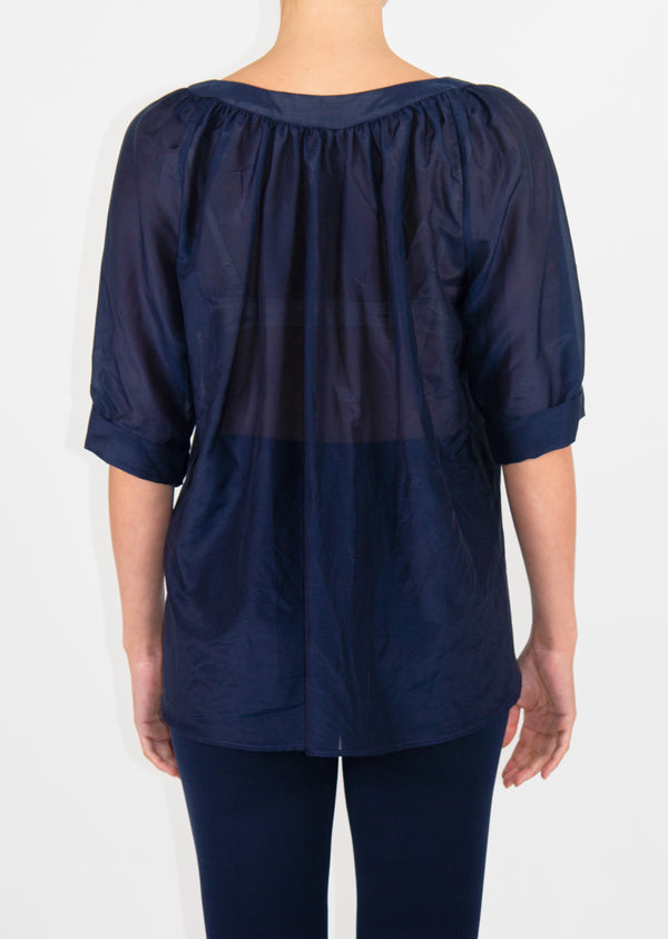 Heart Blouse - Navy