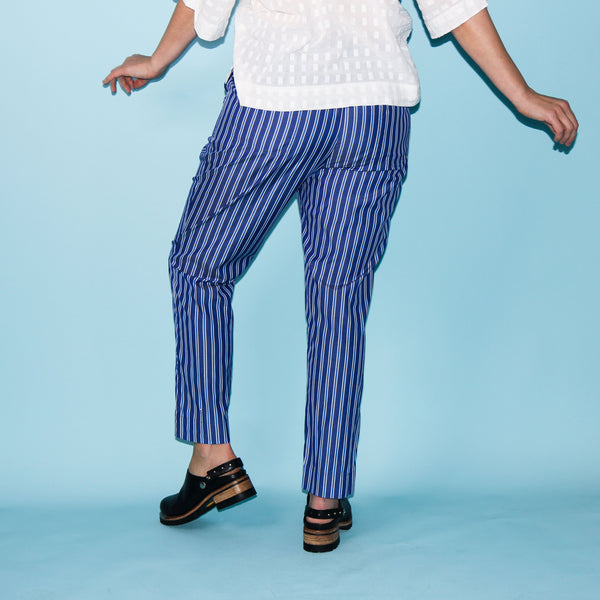 La Playa Pants - Blue Stripe - Size 8