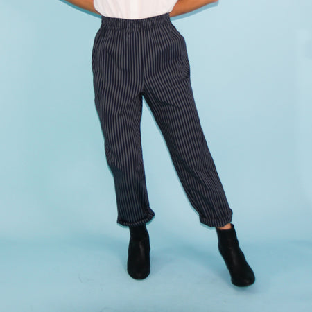 La Playa Pants - Navy Stripe - Size 8, 10 & 12