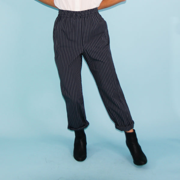La Playa Pants - Navy Stripe - Size 6, 8, 10 & 18