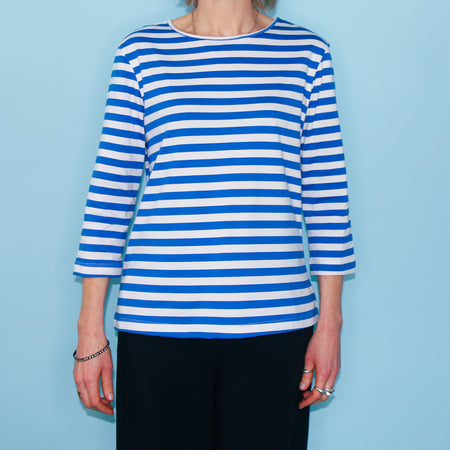 Riviera Top - Azure Blue Stripe
