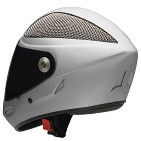Icaro Full Face Helmet: 4 Fight Grid Cut Silver Helmets Full Face- Edge Boardshop