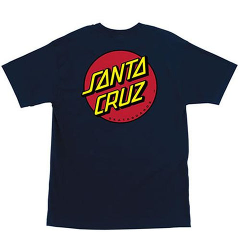 Santa Cruz T Shirt: Classic Dot Navy T Shirts- Edge Boardshop