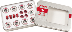ANDALE SWISS TIN BOX BEARINGS SIL/WHT W/RED