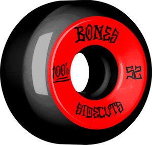 BONES 100's V5 OG SIDECUT#2 52mm BLACK W/RED