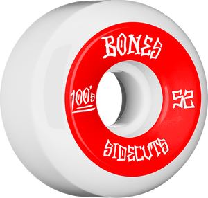 BONES 100's V5 OG SIDECUT#2 52mm WHITE W/RED