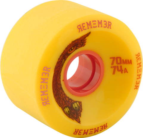 REMEMBER WHEELS HOOT 70mm 74a YELLOW