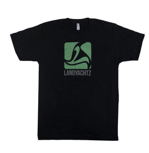 Landyachtz T Shirt: Green Star Logo Black SALE T Shirts- Edge Boardshop