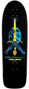 Powell Skateboard Deck: Rodriquez Skull and Sword 30 Black SALE Boards- Edge Boardshop