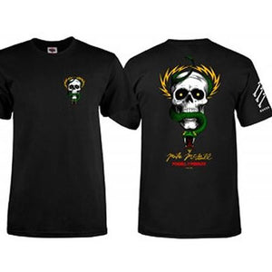 Powell T Shirt: Bones Brigade McGill Skull Snake Black T Shirts- Edge Boardshop