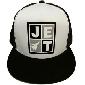 Jet Skateboards Hat: Logo Trucker White Black Hats- Edge Boardshop