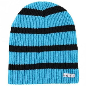 NEFF Beanie: Daily Stripe Cyan Black Beanies- Edge Boardshop