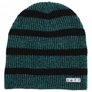 NEFF Beanie: Daily Stripe Green Heather Black Beanies- Edge Boardshop