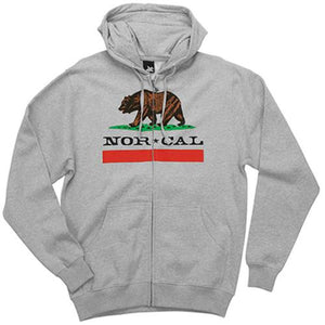 Nor Cal Sweatshirt: Nor Cal Republic Zip Hoody Grey SALE Sweatshirts- Edge Boardshop