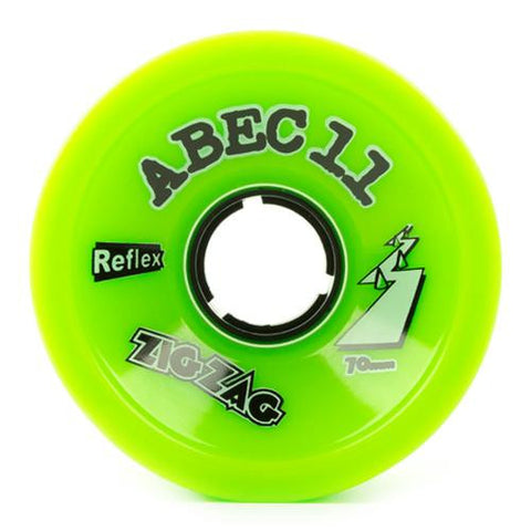 ABEC11 Longboard Wheels: ZigZags Reflex 70mm 80a Green Wheels- Edge Boardshop