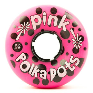 Pink Longboard Wheels:  PolkaDots 62mm 96a w/ grooves Wheels- Edge Boardshop