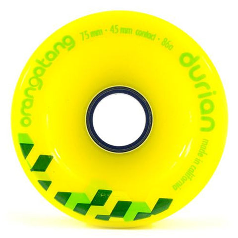 Orangatang Longboard Wheels: Durian 75mm 86a Yellow Wheels- Edge Boardshop