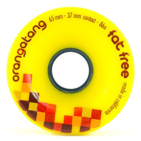 Orangatang Longboard Wheels: Fat Free 65mm 86a Yellow Wheels- Edge Boardshop