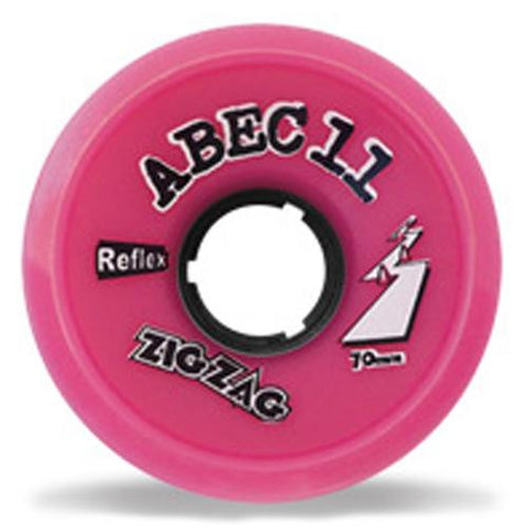 ABEC11 Longboard Wheels: ZigZags Reflex 70mm 77a Pink Wheels- Edge Boardshop