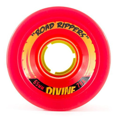 Divine Longboard Wheels: Road Rippers 65mm 78a Red Wheels- Edge Boardshop