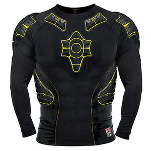 G-Form Protective Gear: Pro-X Long Sleeve Compression Shirt Black Yellow Compression Shirts- Edge Boardshop