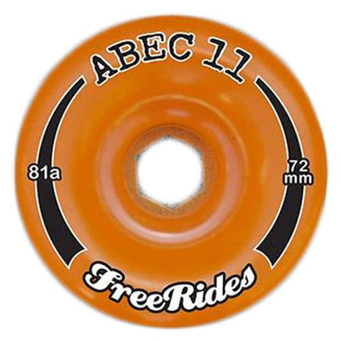 ABEC11 Longboard Wheels: Freerides Offset 72mm 81a Amber Wheels- Edge Boardshop
