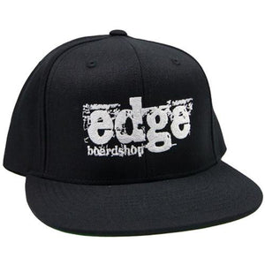 EDGE Hat: Grunge Logo White Snapback Hats- Edge Boardshop