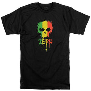 Zero Skateboard T-Shirt: Rasta Blood Skull Black