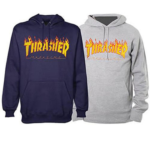 Thrasher Sweatshirt: Flame Hoody Grey
