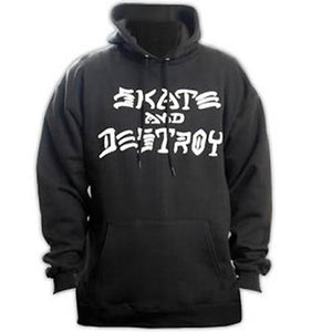Thrasher Sweatshirt: Skate and Destroy Hoody Black