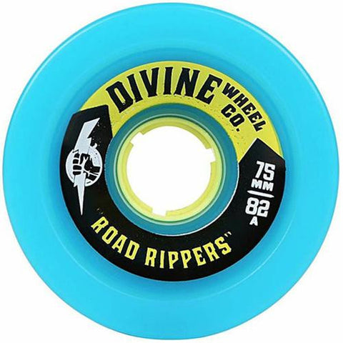 Divine Longboard Wheels: Road Rippers 75mm 82a Cyan Blue Wheels- Edge Boardshop