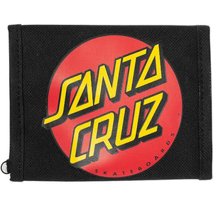 Santa Cruz Skateboard Wallet: Dot Zip Trifold Black Wallets- Edge Boardshop