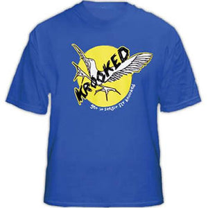 Krooked Skateboards T Shirt: Fly Strait Blue  SALE T Shirts- Edge Boardshop