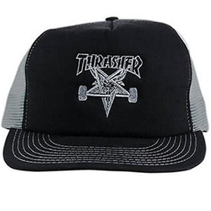 Thrasher Hat: Sk8 Goat Logo Mesh Black Grey