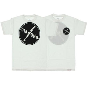 Diamond Supply T Shirt: Lightning White T Shirts- Edge Boardshop