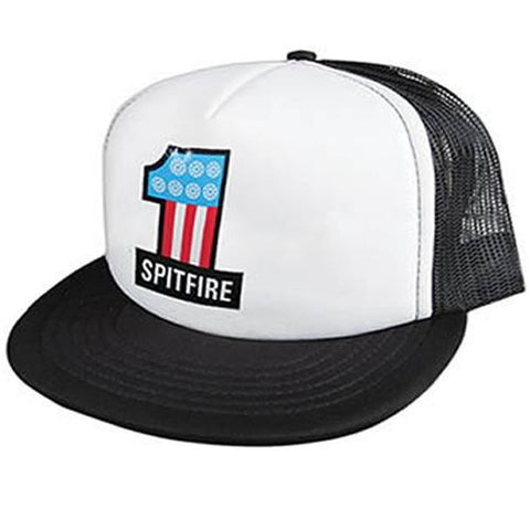 Spitfire Skateboard Hat: #1 Trucker White Black