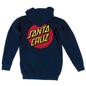 Santa Cruz Sweatshirt: Classic Dot ZIP Hoody Navy Sweatshirts- Edge Boardshop