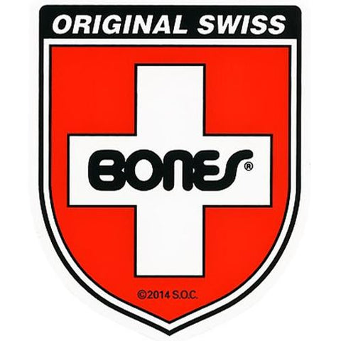 "Bones Bearings Sticker: Swiss Shield 3"" Stickers- Edge Boardshop"