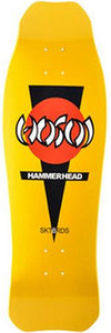 Hosoi Skateboard Deck: Hammerhead Double Kick Yellow Boards- Edge Boardshop