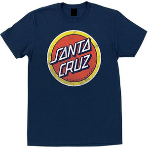 Santa Cruz T Shirt: Retro Dot Navy T Shirts- Edge Boardshop